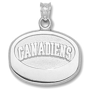 Sterling Silver 5/8in Montreal Canadiens Puck Pendant