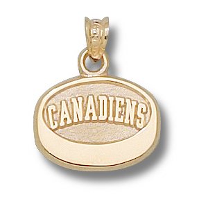 10kt Yellow Gold 7/16in Montreal Canadiens Puck Pendant