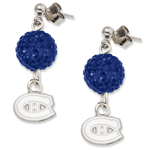 Sterling Silver Montreal Canadiens Crystal Ovation Earrings