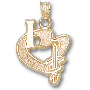 10kt Yellow Gold  3/4in I Heart Cleveland Cavaliers Pendant