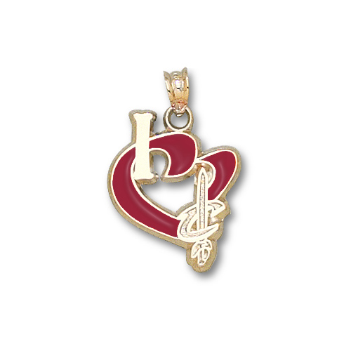 14kt Gold 3/4in I Heart Cleveland Cavaliers Enamel Pendant