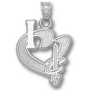 Sterling Silver 3/4in I Heart Cleveland Cavaliers Pendant