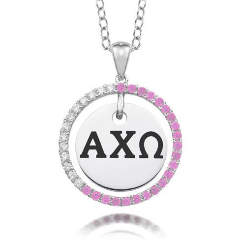 Sterling Silver Alpha Chi Omega CZ Circle Necklace