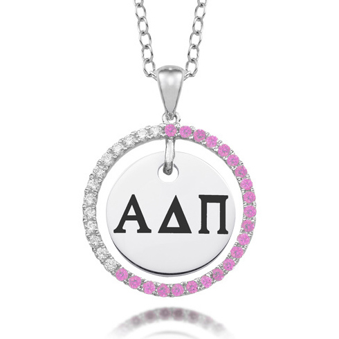 Sterling Silver Alpha Delta Pi CZ Circle Necklace