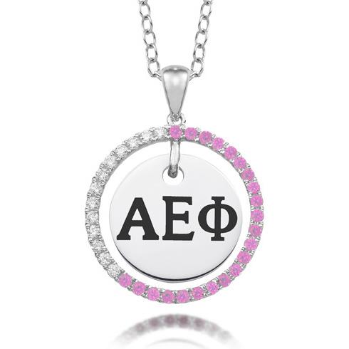 Sterling Silver Alpha Epsilon Phi CZ Circle Necklace