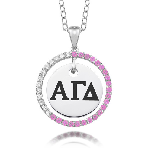 Sterling Silver Alpha Gamma Delta CZ Circle Necklace