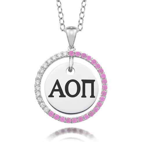 Sterling Silver Alpha Omicron Pi CZ Circle Necklace