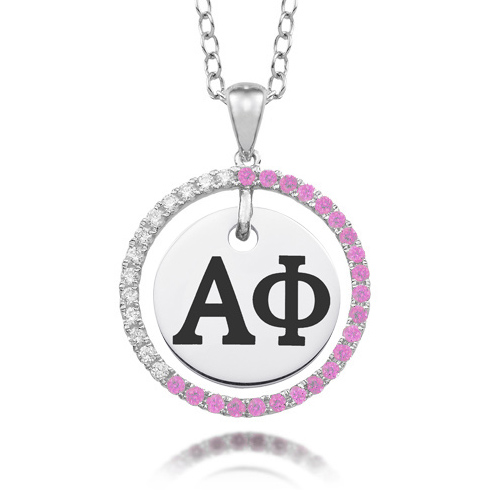 Sterling Silver Alpha Phi CZ Circle Necklace