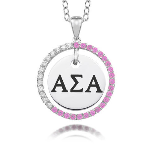 Sterling Silver Alpha Sigma Alpha CZ Circle Necklace