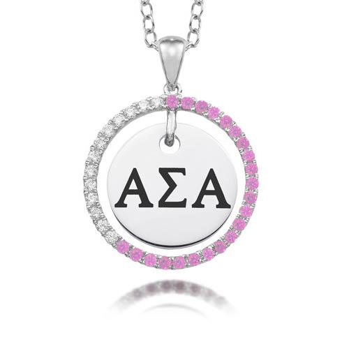 Sterling Silver Alpha Sigma Alpha CZ Circle Necklace