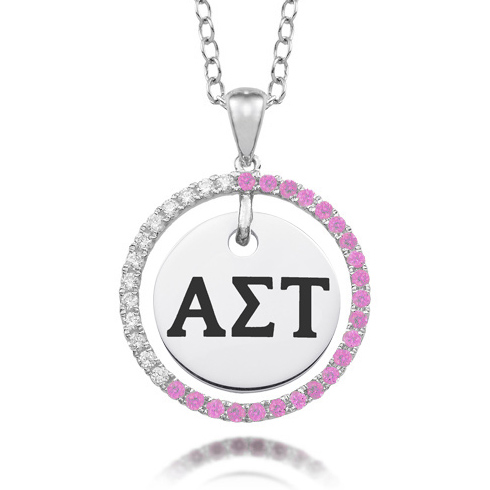 Sterling Silver Alpha Sigma Tau CZ Circle Necklace