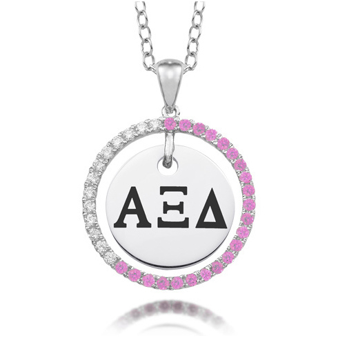 Sterling Silver Alpha Xi Delta CZ Circle Necklace