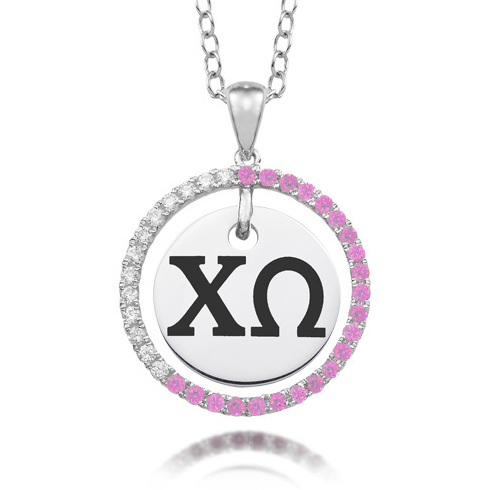 Sterling Silver Chi Omega CZ Circle Necklace