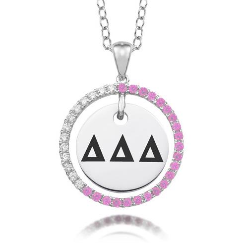 Sterling Silver Delta Delta Delta CZ Circle Necklace