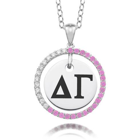 Sterling Silver Delta Gamma CZ Circle Necklace