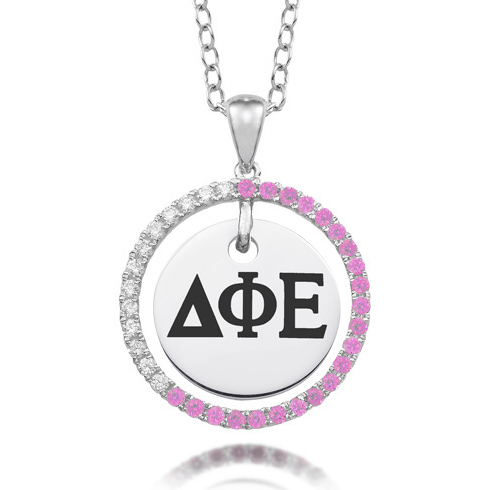Sterling Silver Delta Phi Epsilon CZ Circle Necklace