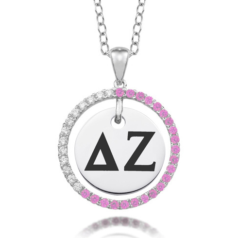 Sterling Silver Delta Zeta CZ Circle Necklace