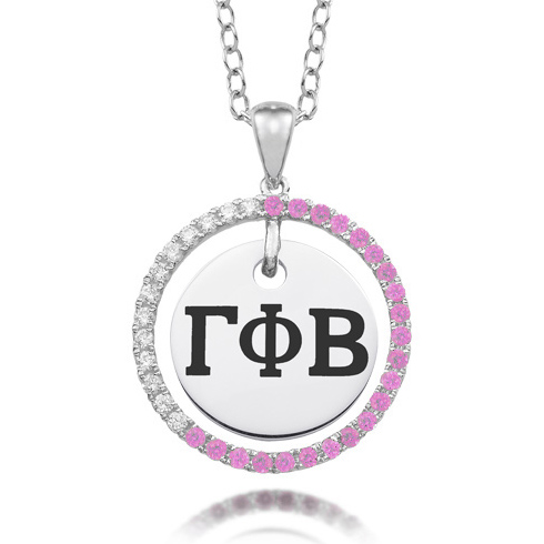 Sterling Silver Gamma Phi Beta CZ Circle Necklace