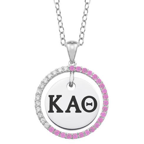 Sterling Silver Kappa Alpha Theta CZ Circle Necklace