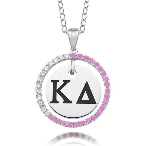 Sterling Silver Kappa Delta CZ Circle Necklace