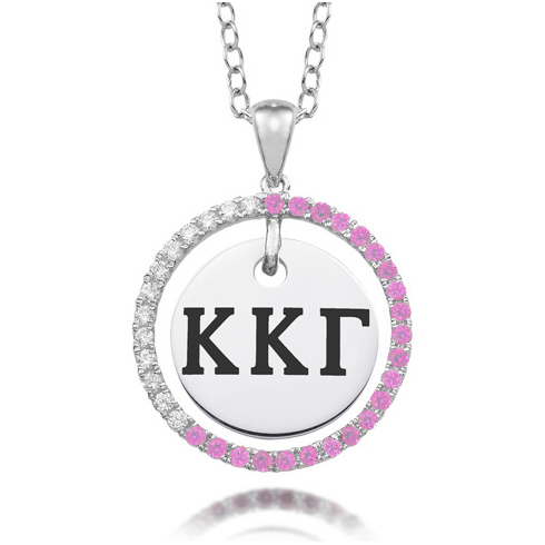Sterling Silver Kappa Kappa Gamma CZ Circle Necklace
