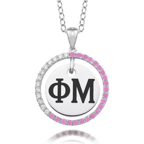 Sterling Silver Phi Mu CZ Circle Necklace