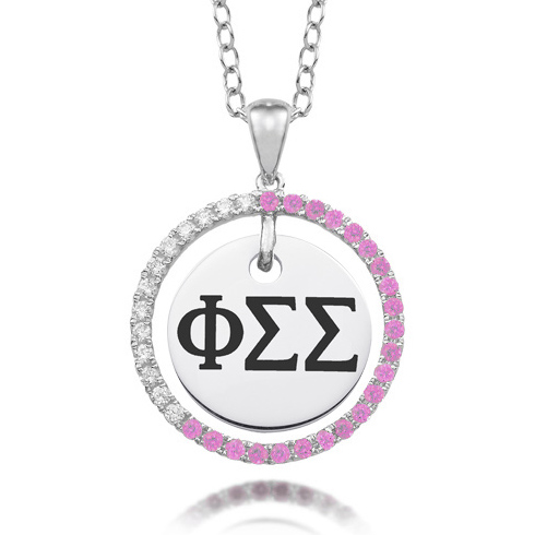 Sterling Silver Phi Sigma Sigma CZ Circle Necklace