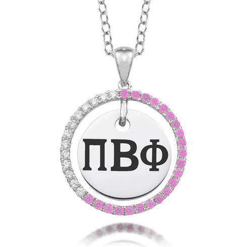 Sterling Silver Pi Beta Phi CZ Circle Necklace