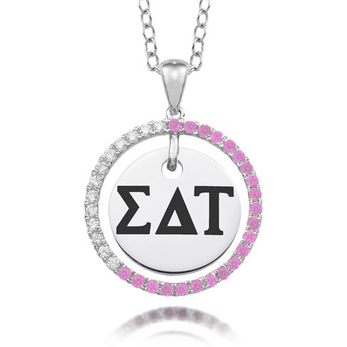 Sterling Silver Sigma Delta Tau CZ Circle Necklace