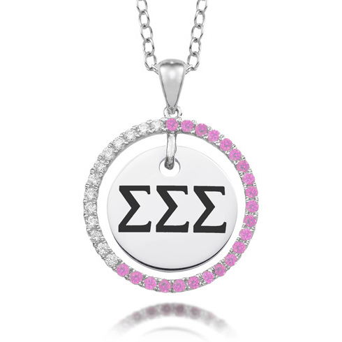 Sterling Silver Sigma Sigma Sigma CZ Circle Necklace