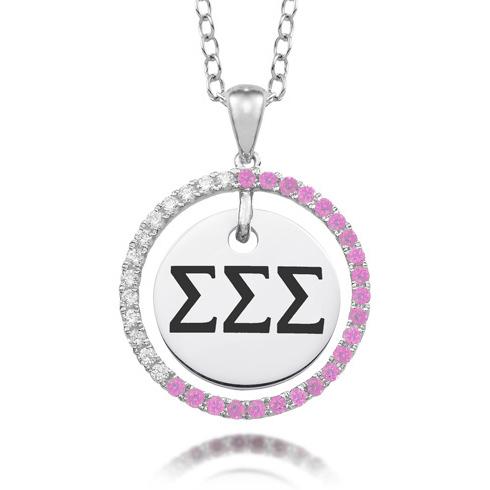 Sterling Silver Sigma Sigma Sigma CZ Circle Necklace