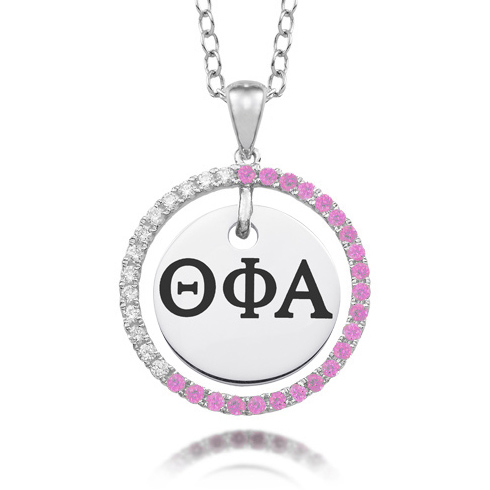 Sterling Silver Theta Phi Alpha CZ Circle Necklace