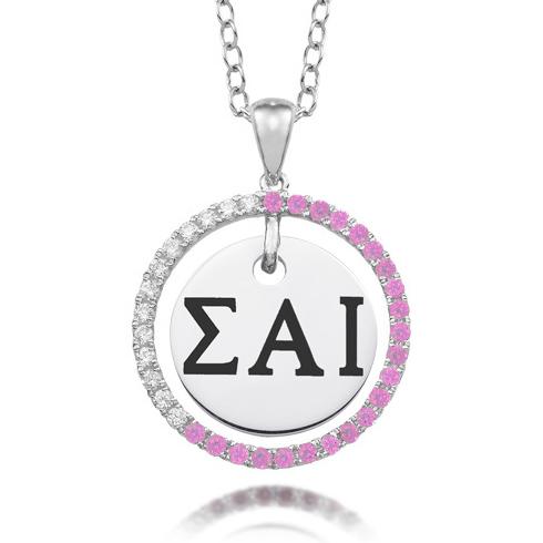 Sterling Silver Sigma Alpha Iota CZ Circle Necklace