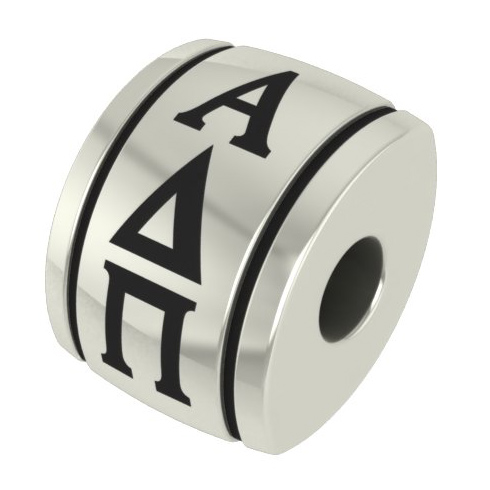 Sterling Silver Alpha Delta Pi Barrel Bead