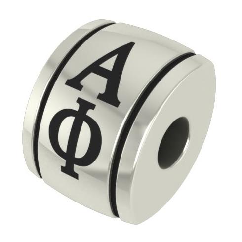 Sterling Silver Alpha Phi Barrel Bead