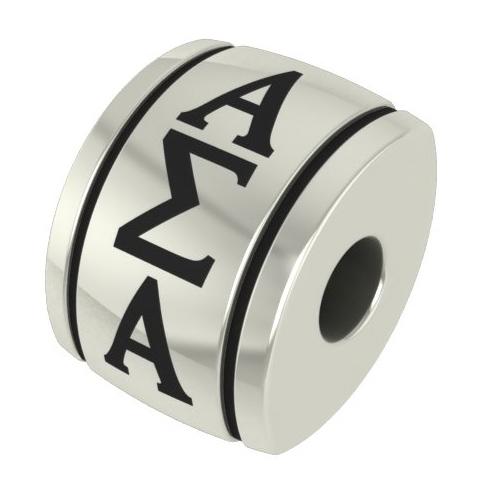 Sterling Silver Alpha Sigma Alpha Barrel Bead