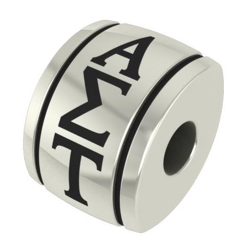 Sterling Silver Alpha Sigma Tau Barrel Bead