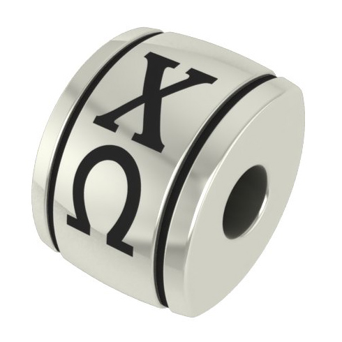 Sterling Silver Chi Omega Barrel Bead