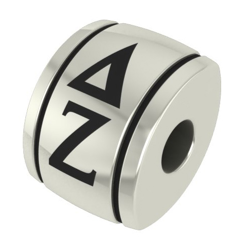 Sterling Silver Delta Zeta Barrel Bead