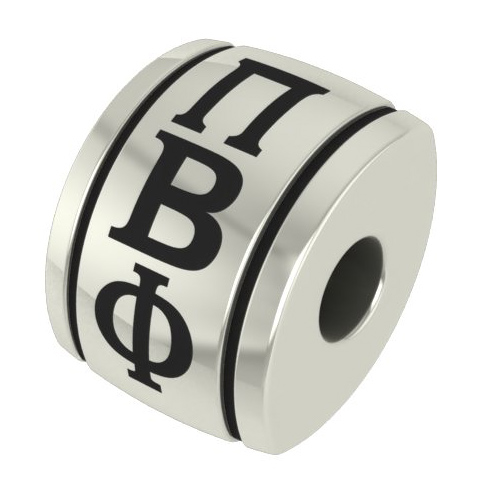 Sterling Silver Pi Beta Phi Barrel Bead