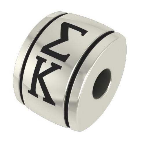 Sterling Silver Sigma Kappa Barrel Bead
