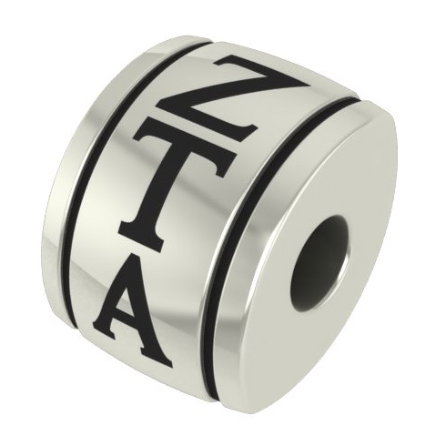 Sterling Silver Zeta Tau Alpha Barrel Bead