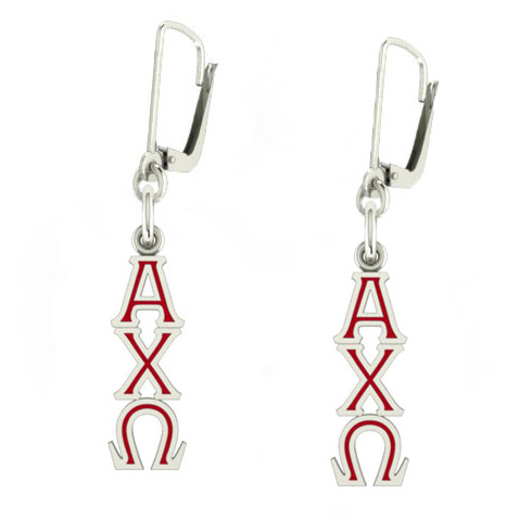 Sterling Silver Alpha Chi Omega Enamel Lavaliere Earrings