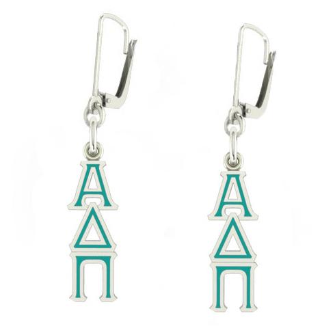 Sterling Silver Alpha Delta Pi Enamel Lavaliere Earrings