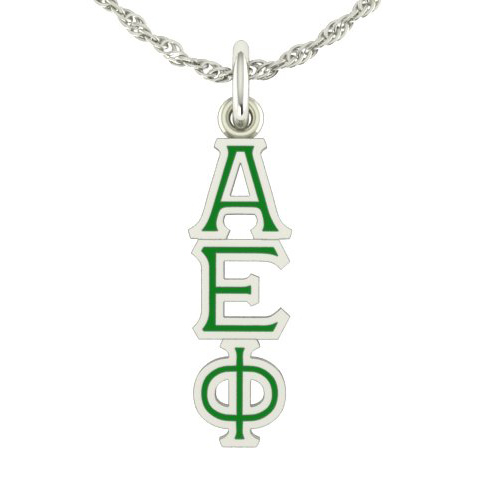 Sterling Silver Alpha Epsilon Phi Lavaliere Necklace