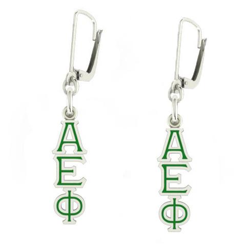 Sterling Silver Alpha Epsilon Phi Enamel Lavaliere Earrings