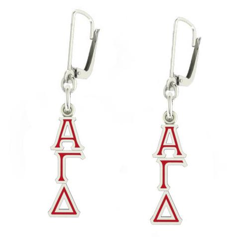 Sterling Silver Alpha Gamma Delta Enamel Lavaliere Earrings
