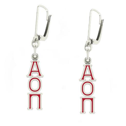 Sterling Silver Alpha Omicron Pi Enamel Lavaliere Earrings
