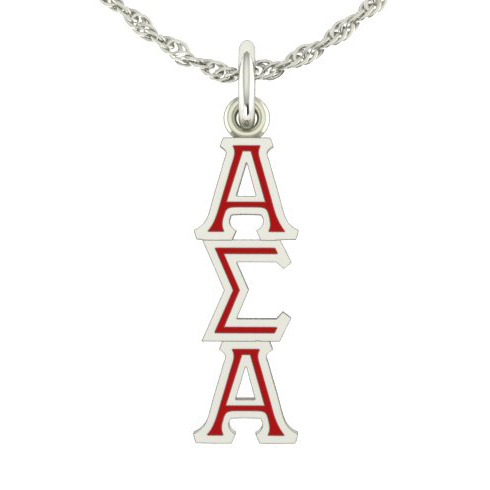 Sterling Silver Alpha Sigma Alpha Lavaliere Necklace