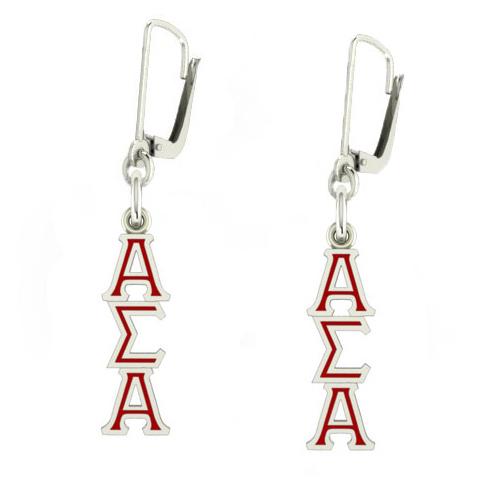 Sterling Silver Alpha Sigma Alpha Enamel Lavaliere Earrings